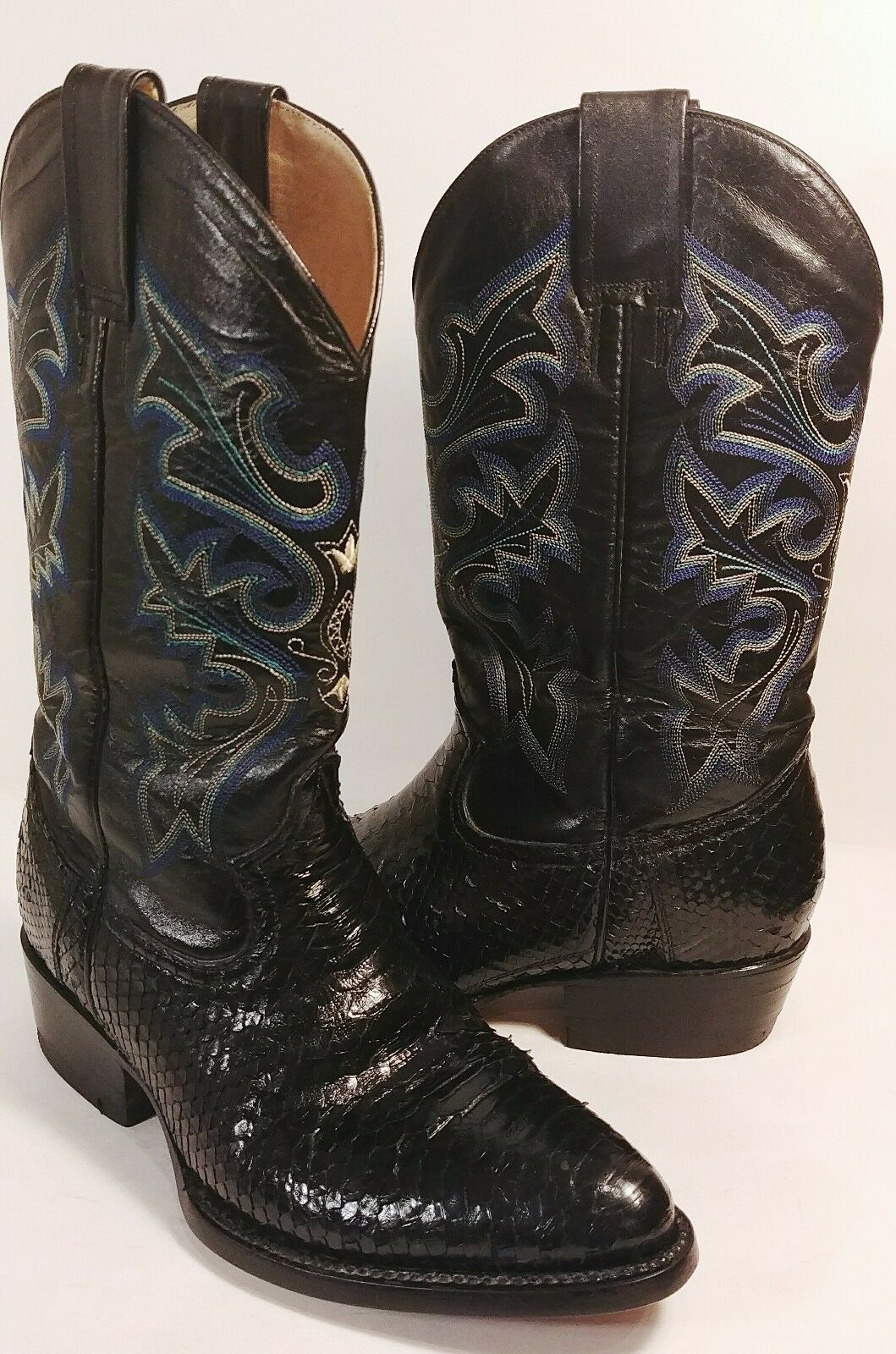 colorado Boots Black Snakeskin bluee Embroidered Western Boots Women's 6M EUC