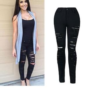 Women-039-s-Denim-Skinny-Ripped-Pants-High-Waist-Stretch-Jeans-Slim-Pencil-Trousers