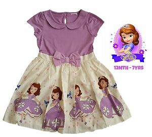 Girls-Dress-Kids-Baby-Party-Summer-Outfit-Purple-Disney-Princess-Sofia-NEW