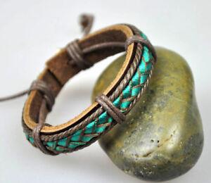 C28-Adjustable-Surfer-Cool-Leather-amp-Hemp-Wristband-Bracelet-Bangle-Fabric-Green