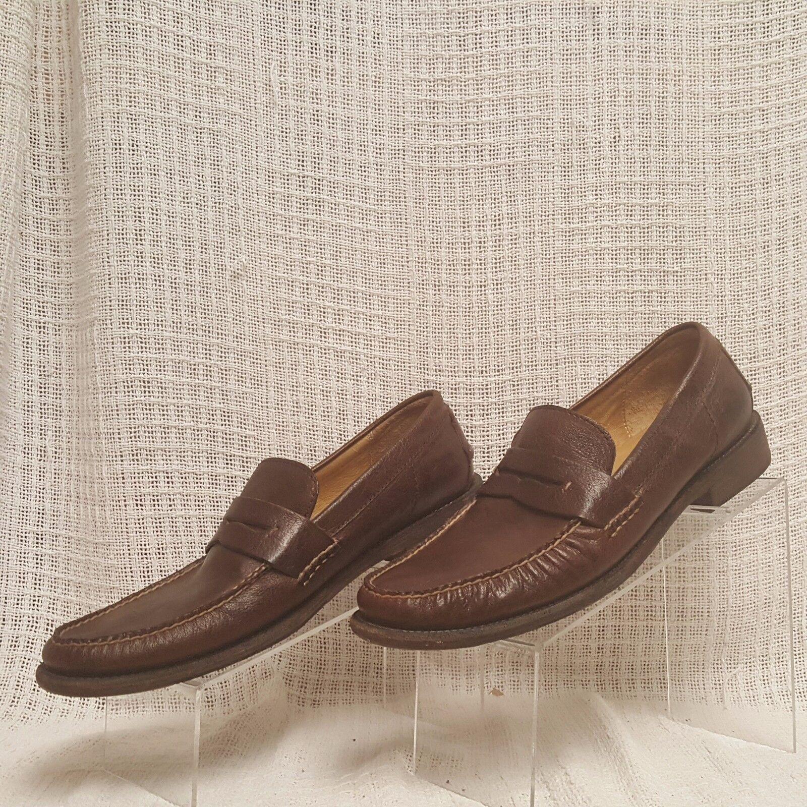 Frye Otis Penny Loafer Moc Toe Toe Toe Distressed Leather Men Größe 11.5 D braun 80552 d85c45