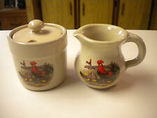 Shaker & Thangs Pottery Rooster  / Chicken Themed Creamer & Crock Sugar w/ Lid