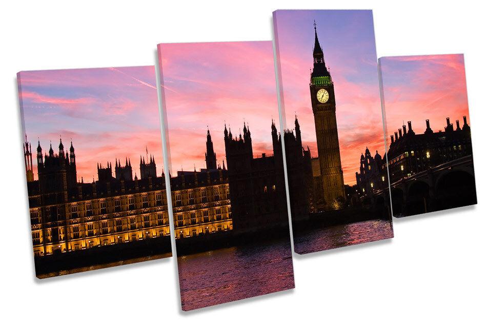 Big Ben London Stadt Sunset MULTI CANVAS Wand Kunst Framed Panel