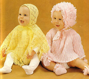 Image is loading Baby-Girl-Crochet-Poncho-amp-Hat-pattern-with- f72073b965c