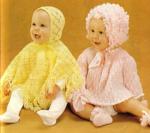 with Loopy hat Baby Girl Crochet Poncho /& Hat pattern mits and bootees to knit