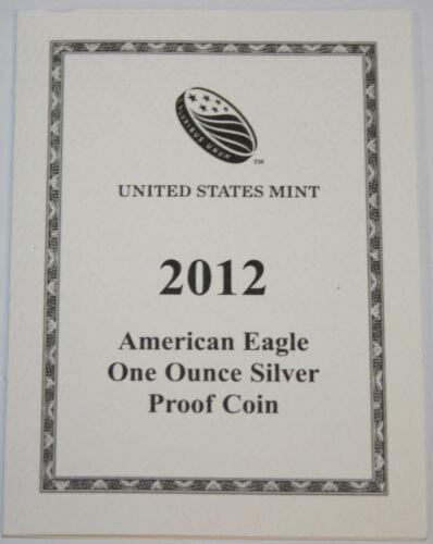 Supplies 2012-W American Silver Eagle NO COINS COA ONLY