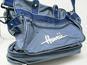 Vintage Hawaii Travel bag with wheels Blue and white with Keys and Lock attached