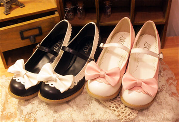 Lolita Gothic Barbie Palace Retro Bowknot School Girl High-heeled Schuhes