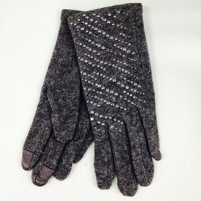Winter Punk Studs Winter Wool iphone Touch Screen Touchable Gloves Gray NEW