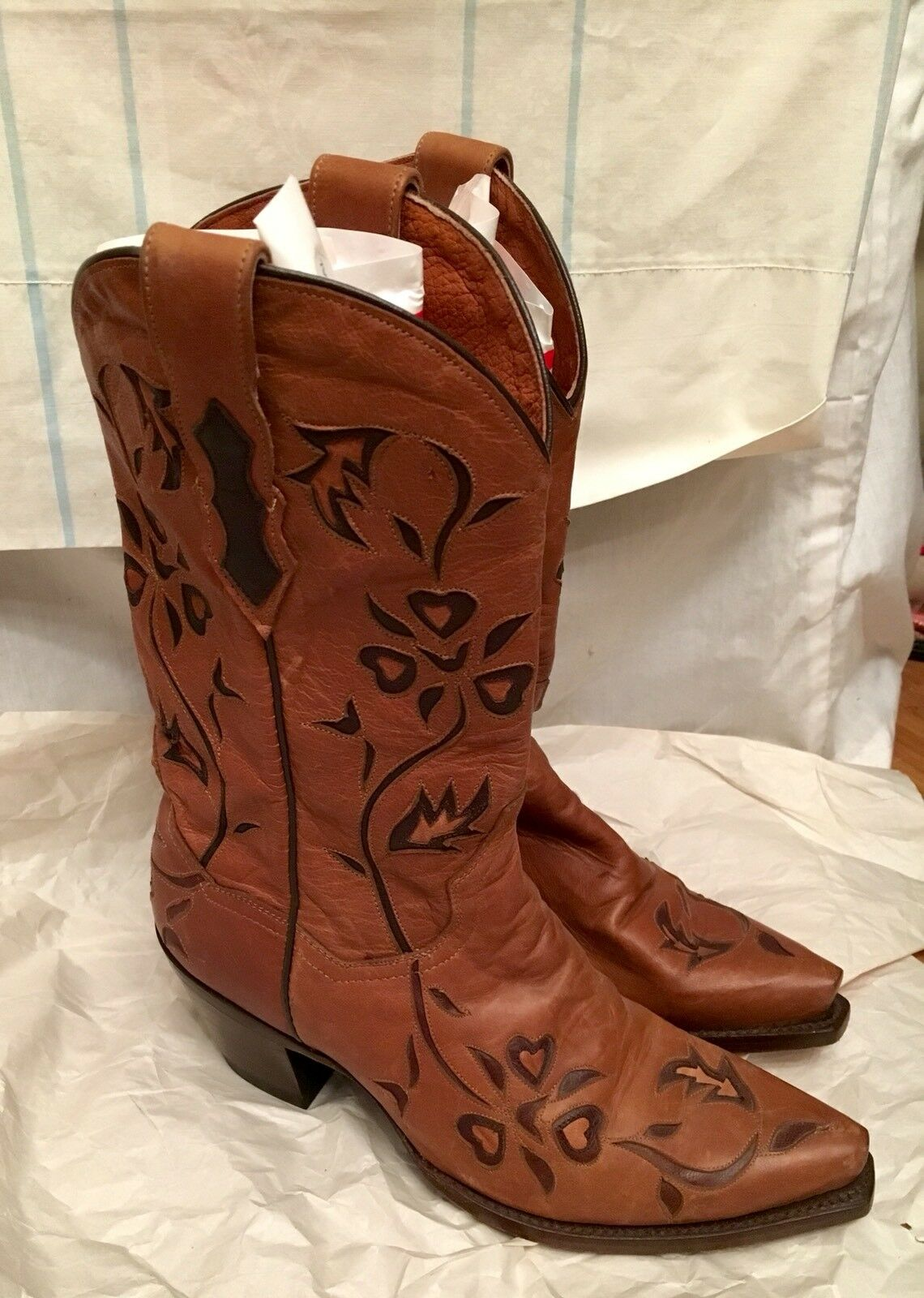 Dan Post Heartbreaker Women's Size 8 M Brown/Blue Snip Toe DP3242 Mexico