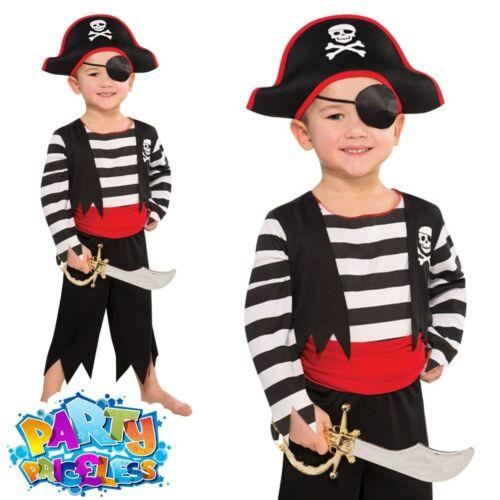 Kids Toddler Pirate Costume Deckhand Captain Hook Fancy Dress Boys Girls Outfit