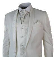 Mens Wedding Party Suit Tuxedo 4 Piece Cream Ivory Round Shawl Lapel Slim Fit