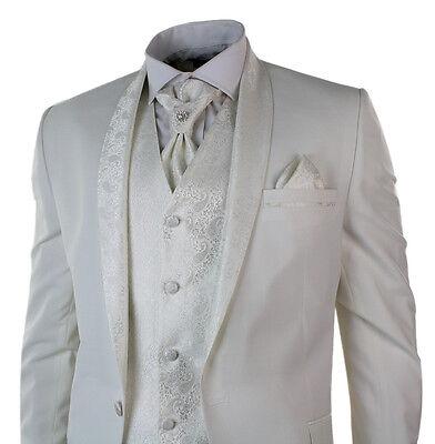 Mens Wedding Party Suit Tuxedo 4 Piece Cream Ivory Round Shawl Lapel Slim Fit