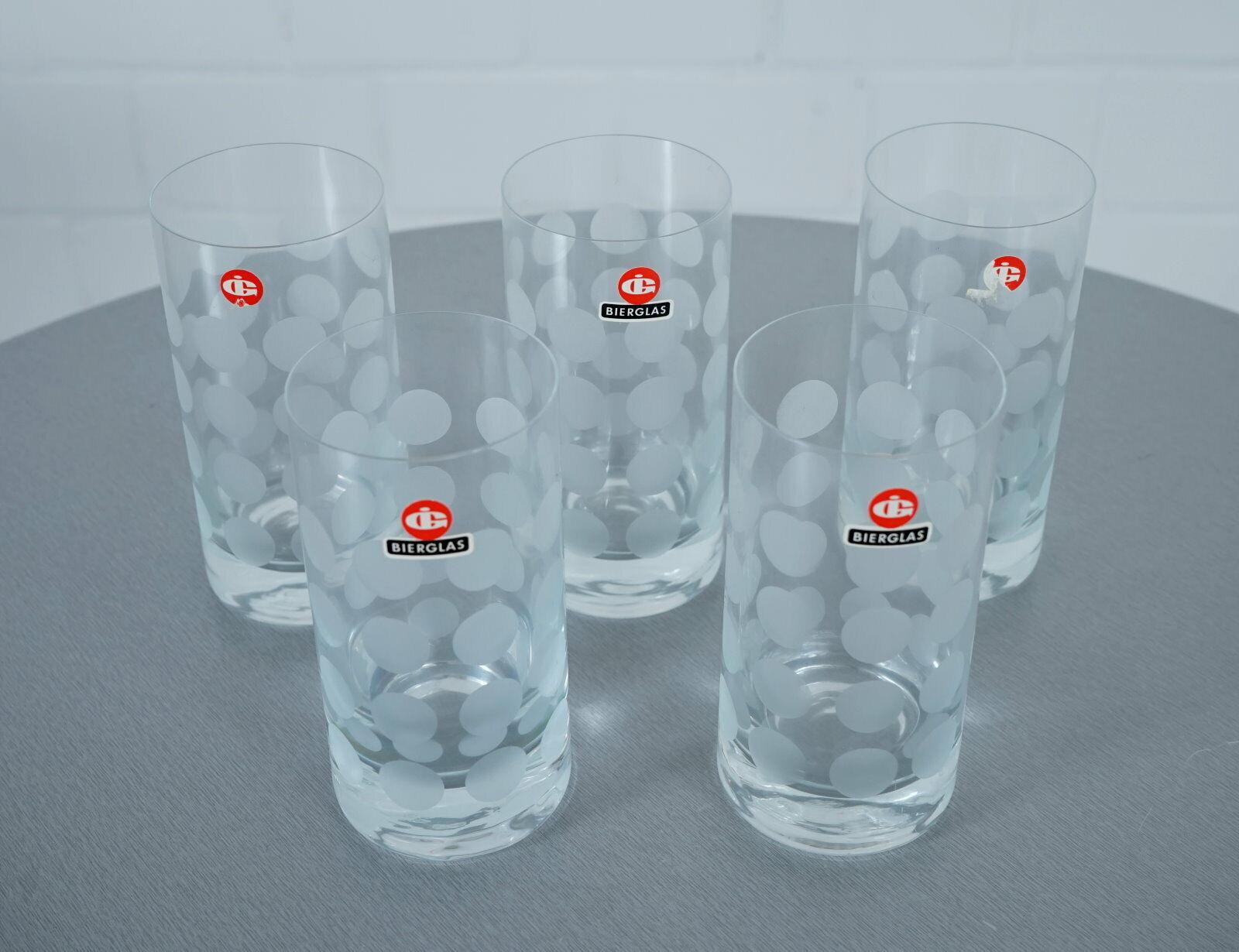 5 x Ingrid verre chope de bière verre d'eau jus Polka Dots Vintage 60er Années 70er