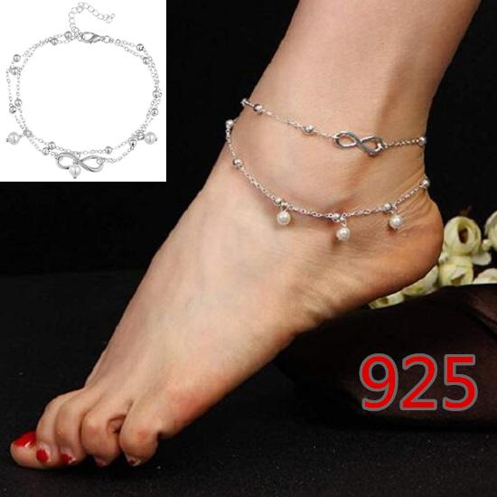 UK Women Ankle Bracelet 925 Sterling Silver Anklet Foot Chain Boho Beach Beads !