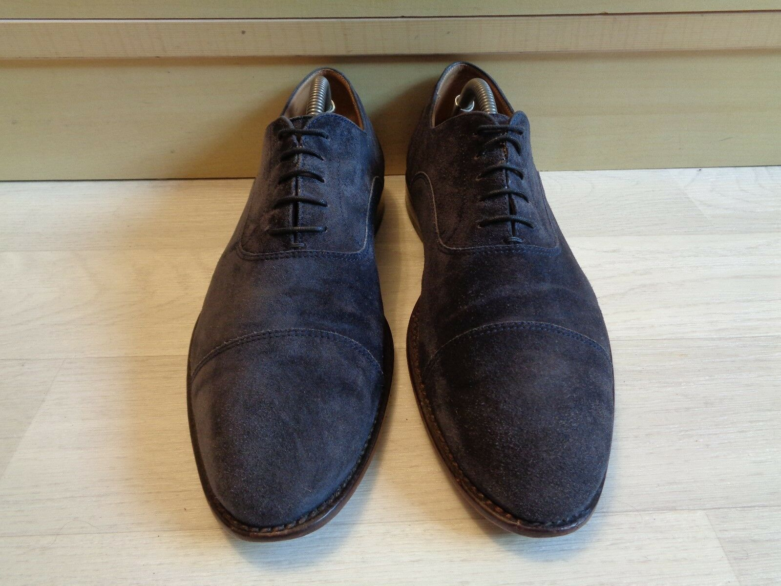 Hugo Boss navy suede oxford oxford oxford UK 8 42 mens full leather cap toe business lace up  a07163