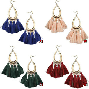 NEW-Women-Bohemian-Long-Tassel-Fringe-Boho-Ear-Stud-Dangle-Earrings-Jewelry