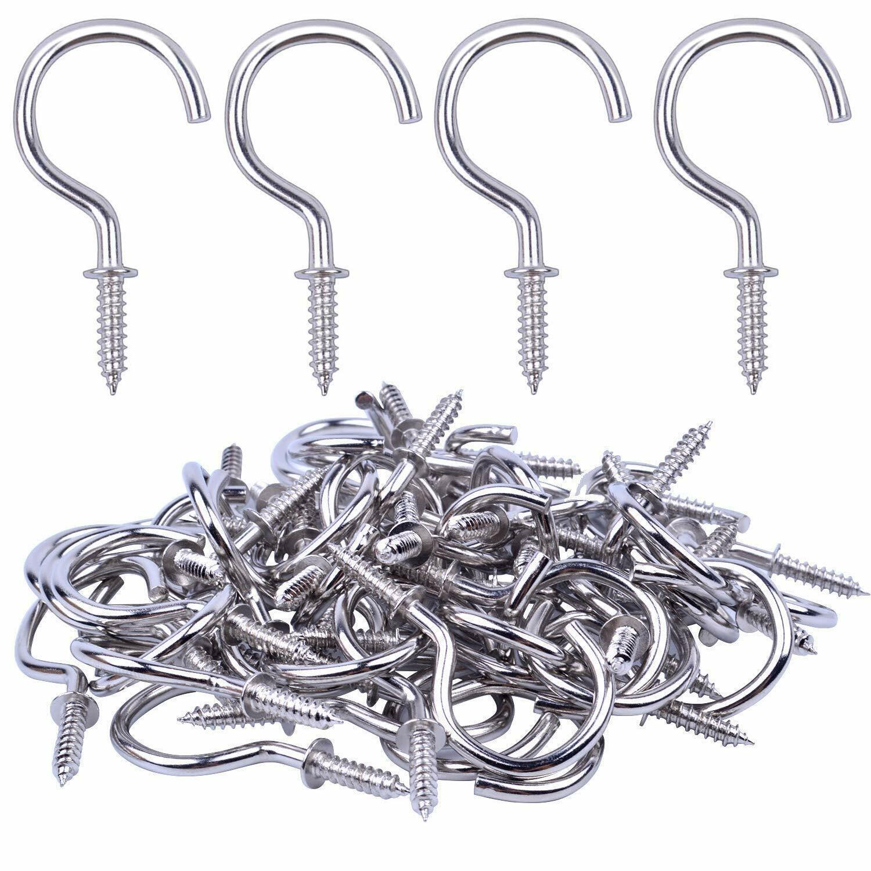 Bonayuanda 50Pcs Nickel Plated Metal Screw In Ceiling Hooks Cup Silver