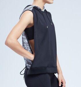 NEW-Zobha-Women-039-s-Jett-Wide-Sleeveless-Open-Sides-Hoodie-BlackContrast-Print-57