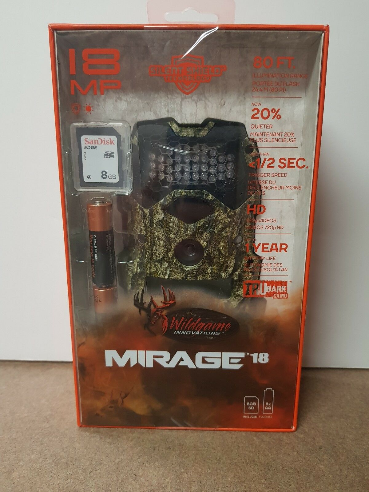 WILDGAME INNOVATIONS MIRAGE 18 TRAIL GAME CAMERA w   8GB SD Card & Batteries  the cheapest