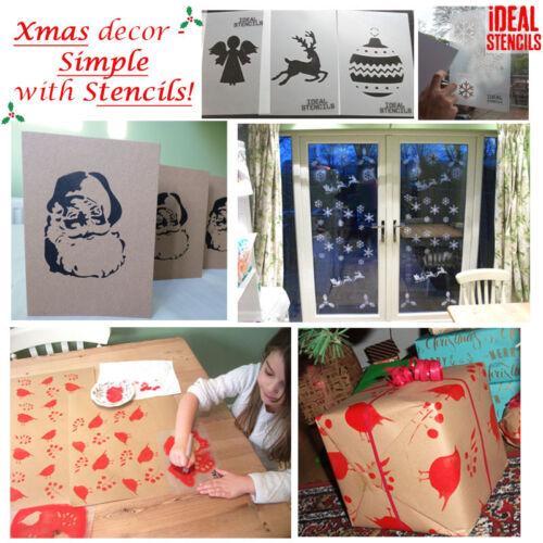 Plantilla de Santa /& Reno Navidad ventana de visualización de la plantilla arte Arte Pintura