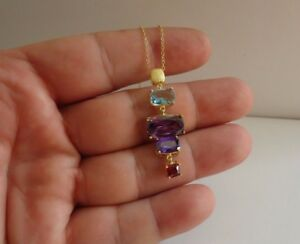 14K-YELLOW-GOLD-OVER-925-STERLING-SILVER-NECKLACE-PENDANT-W-MULTI-COLOR-GEMS
