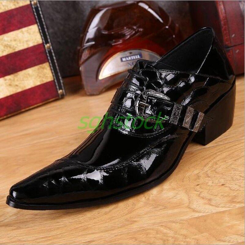 Vestido de encaje Negro para Hombre de Cuero Genuino Hecho a Mano Diseño Formal Zapatos Puntera Puntiaguda