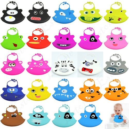 1pc Cute Infant Baby Kid Washable Silicone Feeding Bib Cartoon Patterns Bib New