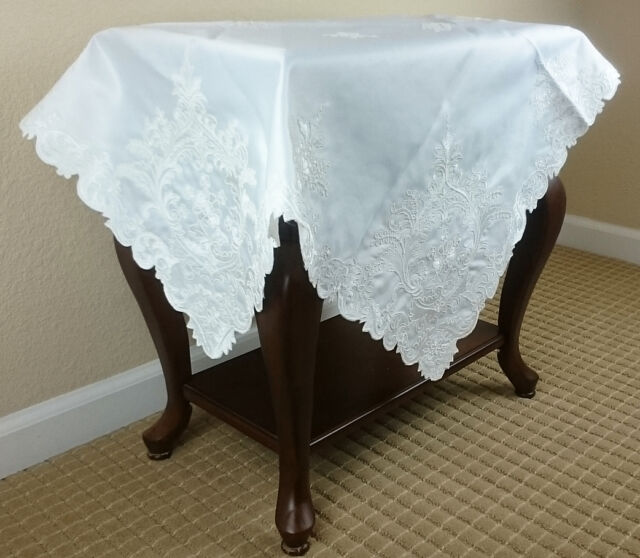 """White Embroidered tablecloth end table topper fabric embroidery 36x36/"""" Square"""