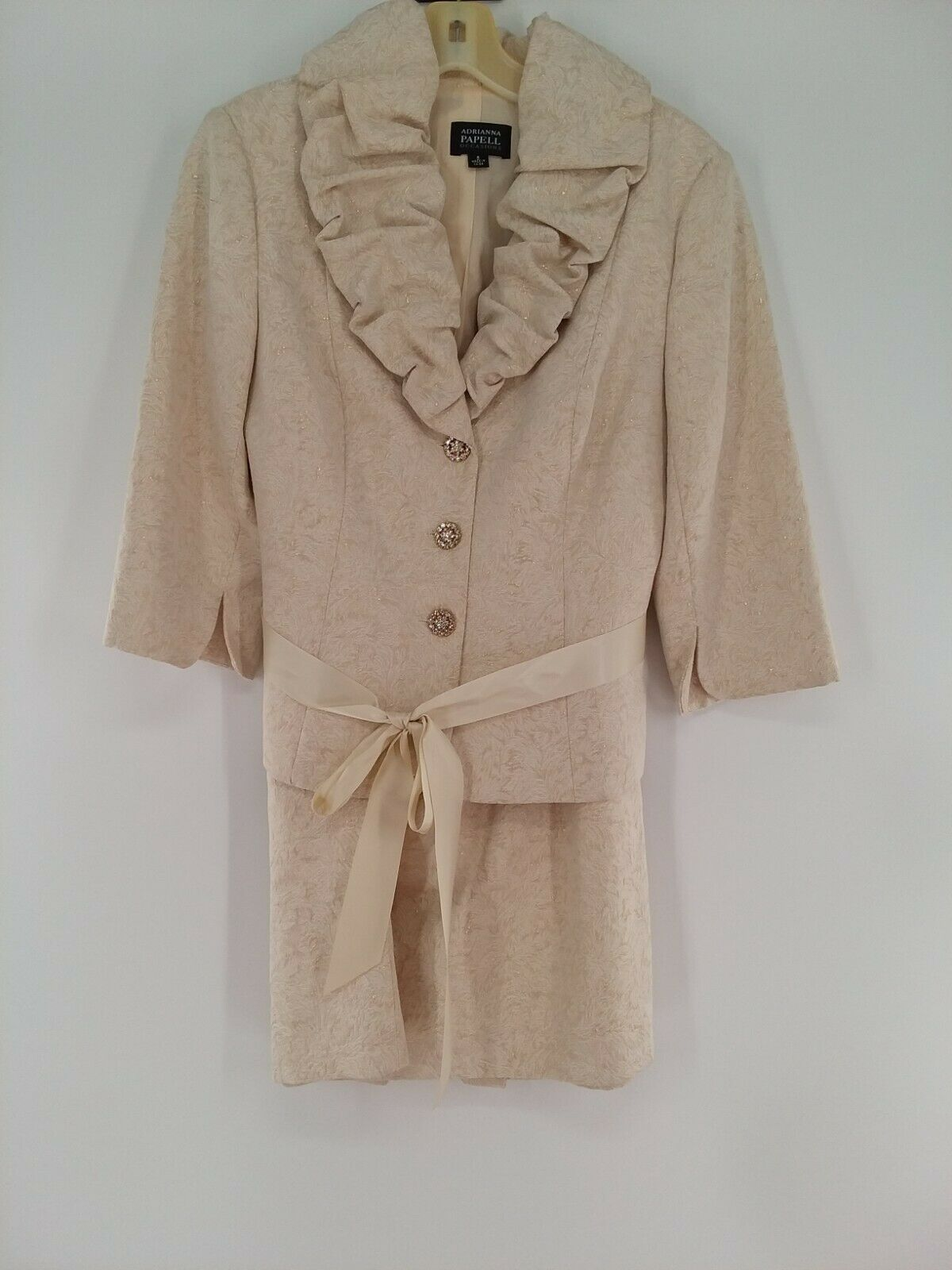 Adrianna Papell Mother of Bride Suit Size 8 Ivory with Gold