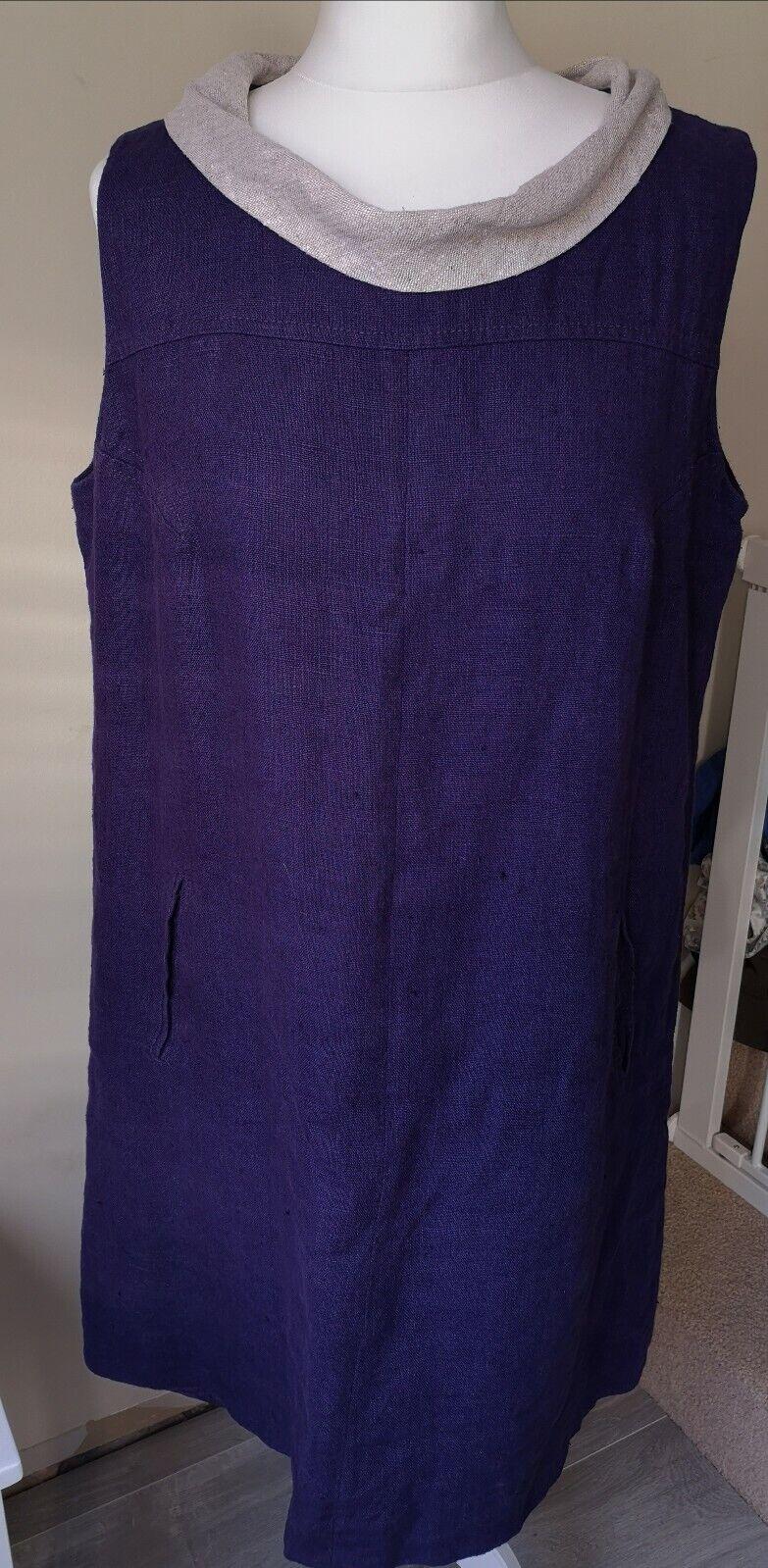 Purple Linen Cowl Neck Sleeveless Shift Dress From Hobbs Size 14