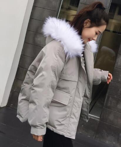 Fur Jakke F840 Kvinders Puffer Bomuld Polstret Frakke Faux Warm Winter Hooded Outwear 5ORwAq