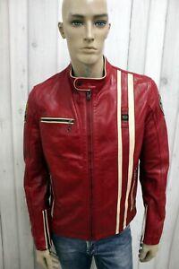 BLAUER-Uomo-Taglia-L-Giubbotto-Pelle-Giacca-Giubbino-Leather-Chiodo-Biker-Rosso