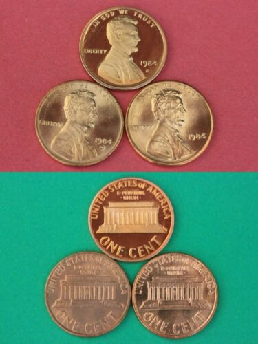 1984 P D S Lincoln Memorial Cents Mint BU /& Proof 3 Coins Combined Shipping