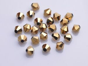 200x-Wholesale-4mm-Bicone-Faceted-Crystal-Glass-Loose-Spacer-Beads-Gold-Plated