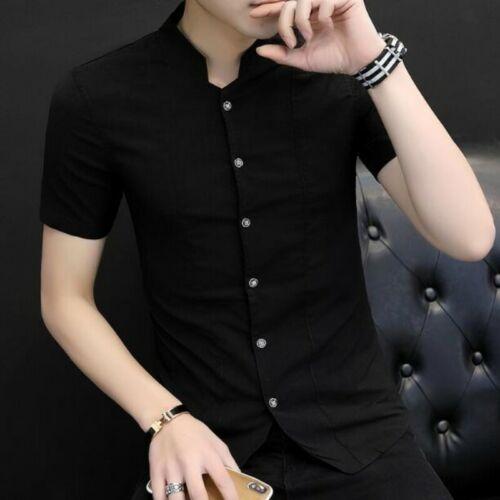 2019 Hommes Chemises Tops Manches Courtes Slim Fit solide Jeunesse Loisirs Cardigan T-Shirt