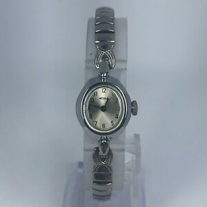 Vintage-Acqua-Womens-Wind-Up-Silver-Tone-Stainless-Steel-Stretch-Band-Watch