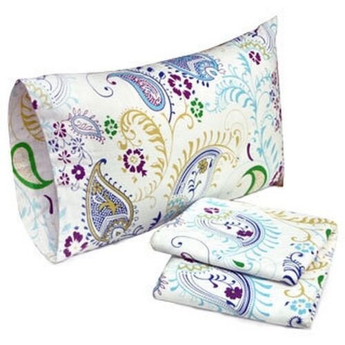 Tribeca Living Paisley Garden Printed Deep Pocket Flannel Sheet Set and Optional