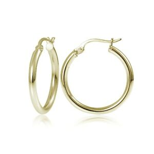 Gold-Tone-over-Sterling-Silver-2mm-High-Polished-Round-Hoop-Earrings-15mm