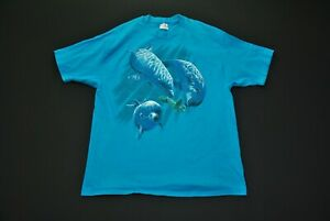 VTG-80s-Dolphin-Sea-Turtle-Shirt-Hanes-XL-Single-Stitch-Underwater-Ocean-Blue