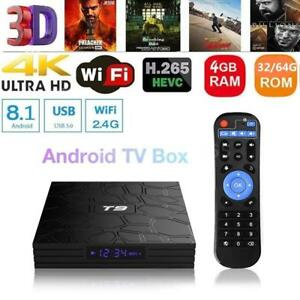 T9 4K Media Player RK3328 Quad Core Android 8.1 TV Box WiFi BT 3D 4G+32G//4G+64G