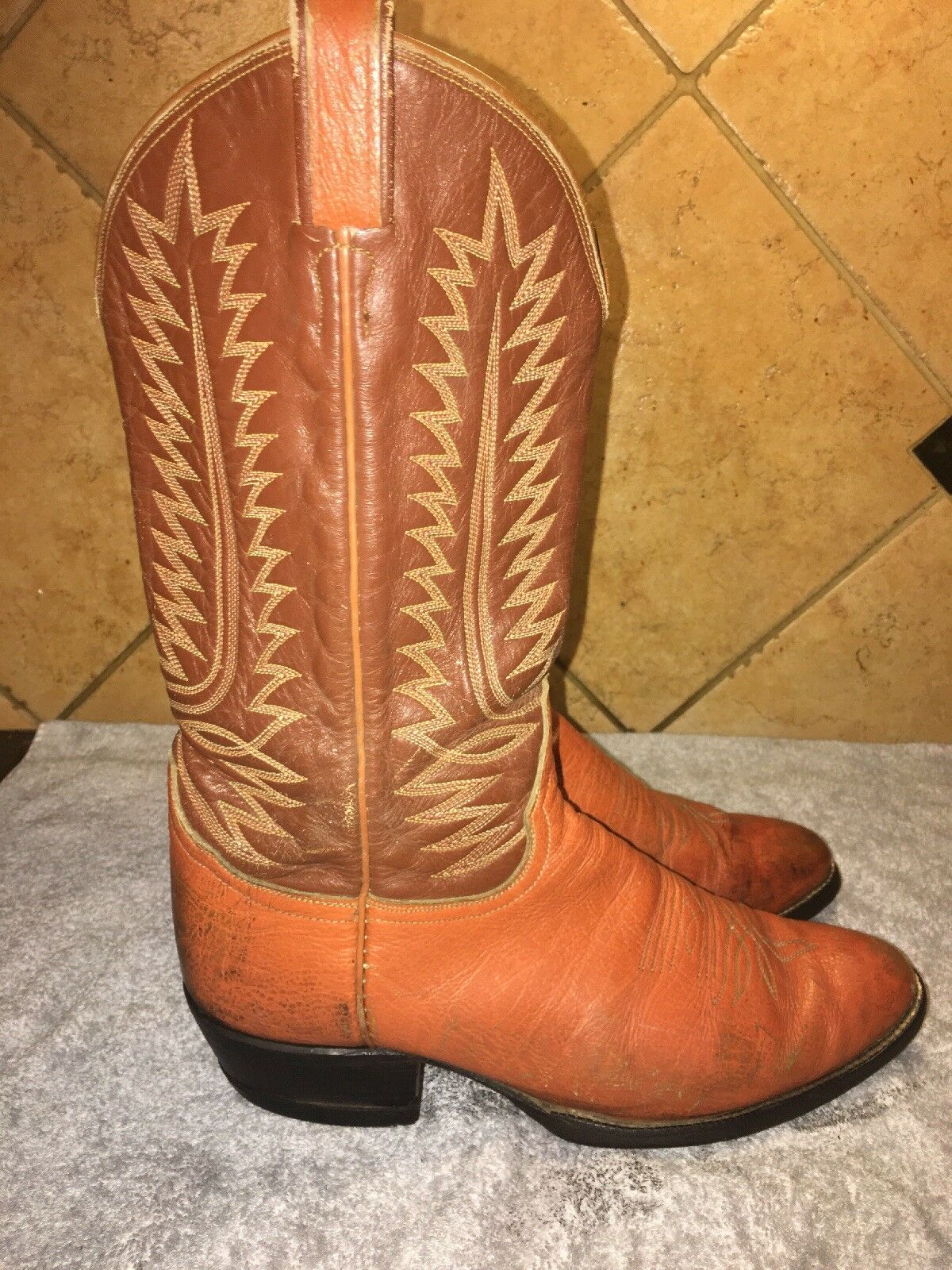 Tony Lama 8057 Brown Leather Cowboy Western Boots Sz 10.5 D