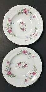 Wawel-Rose-Garden-Soup-Bowls-8-1-4-034-Poland-Set-of-2-Excellent