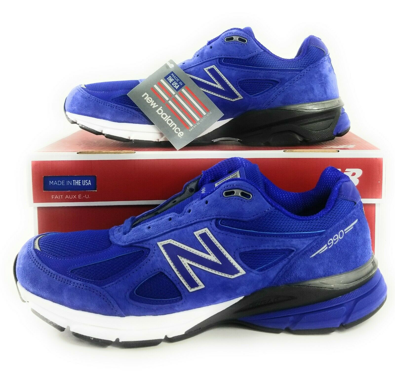 nouveau   990 M990RY4 Taille 14 Bleu Royal Noir Blanc-suede engrener-Made in USA