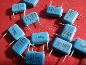 Condensateur Wima 0,01µf = 10nf 100v = 13x9x3mm Bipolaires Wima 10x 24546-afficher Le Titre D'origine