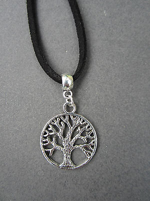 Silver Metal Tree of Life Pendant ~ Pagan ~ Wicca ~ With cord necklace