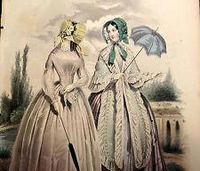 LE FOLLET 1845 Hand-Colored Fashion Plate #1246 Women w/ Parasols ORIG.PRINT