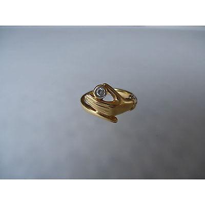Pierre Lang PL Modeschmuck, glanzvoller goldfarbener Ring Hand Steinchen Gr.4