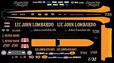 LIL' John Lombardo NHRA DRAG Funny Car 1/32nd Scale Slot Car Waterslide Decals