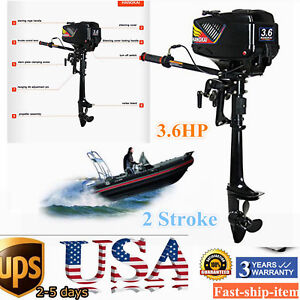 Details about 2Stroke 3 6HP Outboard Motor Fishing Boat Engine Short Shaft  w/Water-cooling UPS